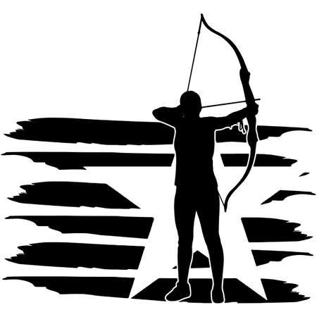 Archery Women flag, American Flag, Fourth of July, 4th of July, Patriotic, Cricut Silhouette Cut File, Cutting file Vetores