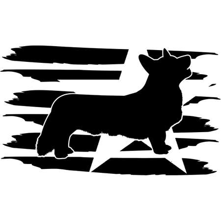 Cardigan Welsh Corgi flag, American Flag, Fourth of July, 4th of July, Patriotic, Cricut Silhouette Cut File, Cutting file