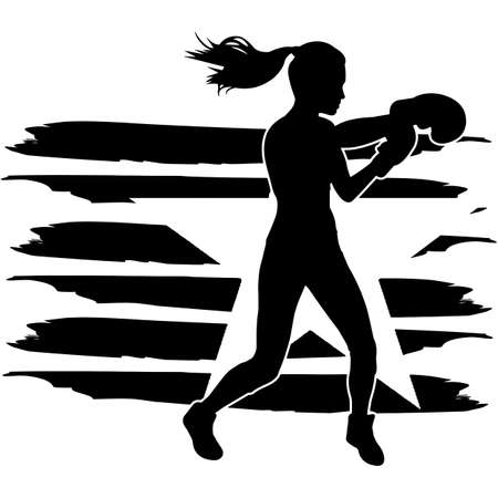 Boxing Women flag, American Flag, Fourth of July, 4th of July, Patriotic, Cricut Silhouette Cut File, Cutting file 向量圖像