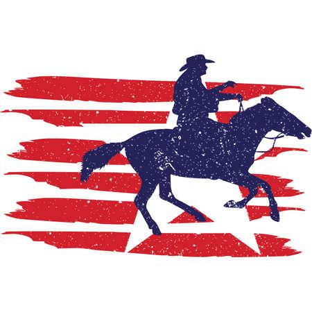 CowboyRancherRodeo  flag, American Flag, Fourth of July, 4th of July, Patriotic, Cricut Silhouette Cut File, Cutting file