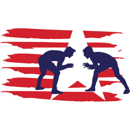 Wrestling  Men flag, American Flag, Fourth of July, 4th of July, Patriotic, Cricut Silhouette Cut File, Cutting file Ilustrace