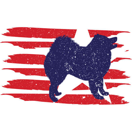 Samoyed flag, American Flag, Fourth of July, 4th of July, Patriotic, Cricut Silhouette Cut File, Cutting file
