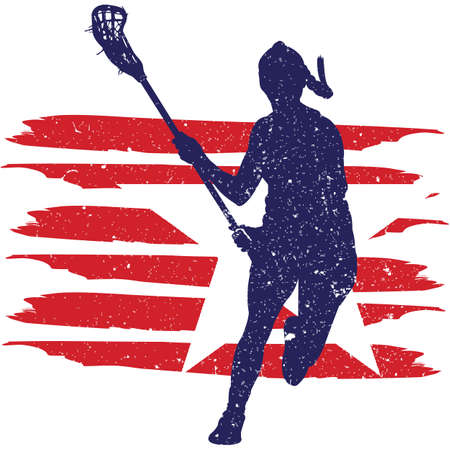Lacrosse Women flag, American Flag, Fourth of July, 4th of July, Patriotic, Cricut Silhouette Cut File, Cutting file