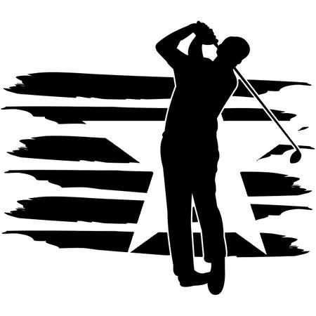 Golf flag, American Flag, Fourth of July, 4th of July, Patriotic, Cricut Silhouette Cut File, Cutting file Illusztráció