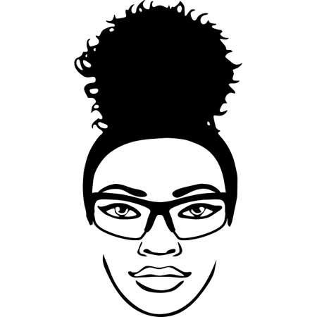 Afro Woman  with glasses and a Puff, Bun, Ponytail , African American girl , Afro lady , cut files - cricut, black history