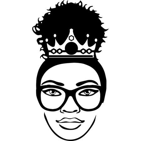 Afro Woman  with glasses and a Puff, Bun, Ponytail , African American Black Woman with crown, cut files - cricut, black history 矢量图像