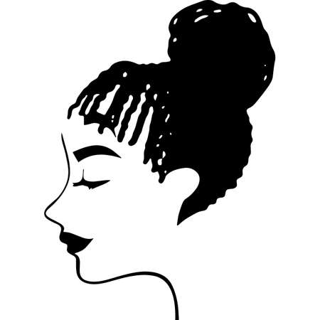 Afro Woman with Side-Swept Dreadlock, African American Black Woman with curly hair, cut files - cricut, black history Vecteurs