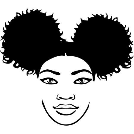 Afro Woman with Side-swept Curly Pixie, Cornrows and Sunglasses , African American Black Woman with curly hair, cut files - cricut Vecteurs