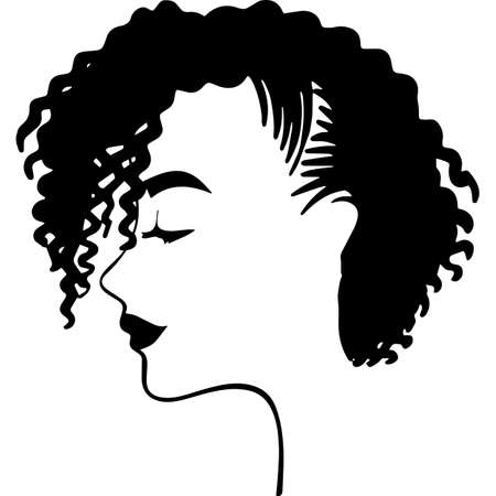 Afro Woman  with Short Natural Curls, African American woman ,  Black Woman  , cricut cut files , black history month, dxf, png Ilustração