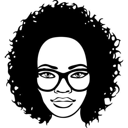 Afro Woman with Short Defined Curls, African American woman , Black Woman , cricut cut files , black history month, dxf, png Vecteurs