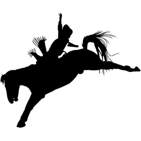Isolated Bare Back Bronc Silhouette Vector
