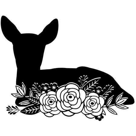 Floral Deer Vector Design
