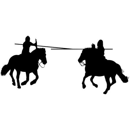 Isolated Jousting Silhouette Vector