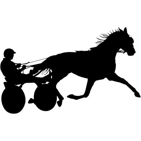 Isolated Harness Racing Silhouette Vector 向量圖像