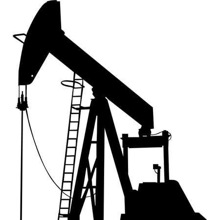 Isolated Oilfield Pump Silhouette Vector Illustration