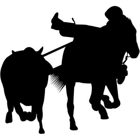 Isolated Toros Coleados Silhouette Vector Stock Illustratie