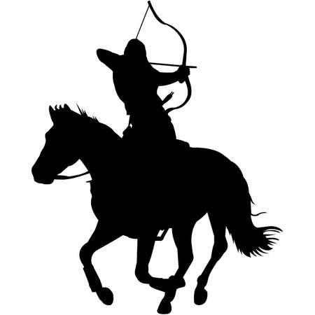 Isolated Horseback Archery Silhouette Vector