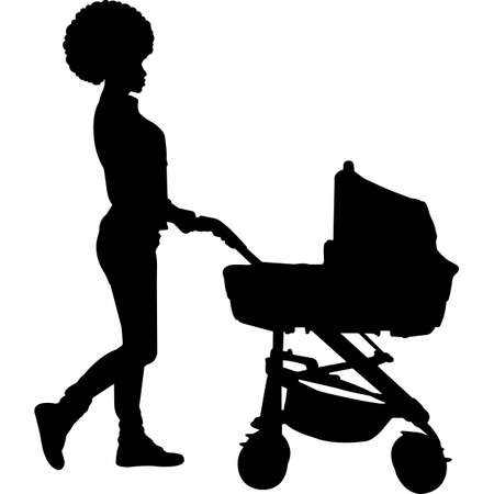 African American Woman with Stroller Silhouette Vector