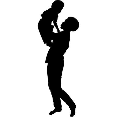 African American Woman with Baby Silhouette Vector