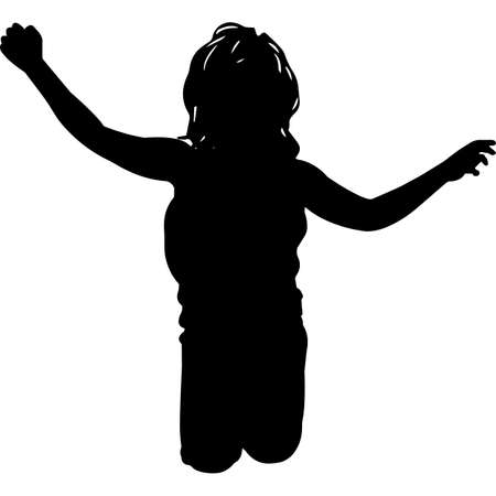 African American Girl Kid Jumping Silhouette Vector