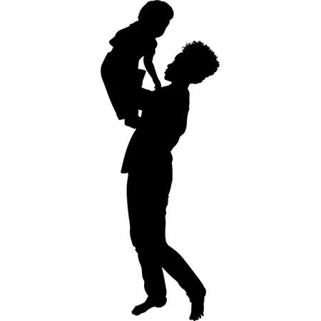 African American Woman with Baby Silhouette Vector Vecteurs