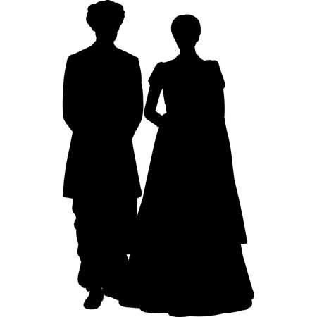 Indian Pakistani Wedding Couple Vector SIlhouette 矢量图像
