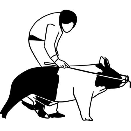 Hand drawn Pig Show Vector Sketch