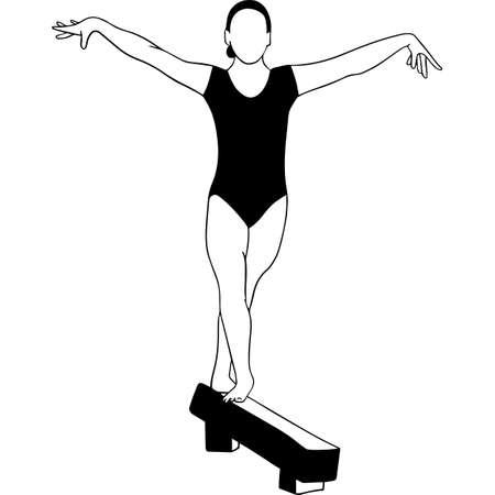 Hand drawn Female Gymnast Vector Sketch
