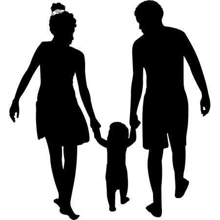 African American Couple with Baby Silhouette Vector