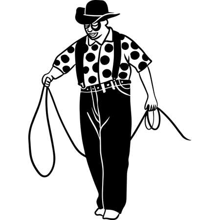 Hand drawn Rodeo  Clown  Vector Sketch