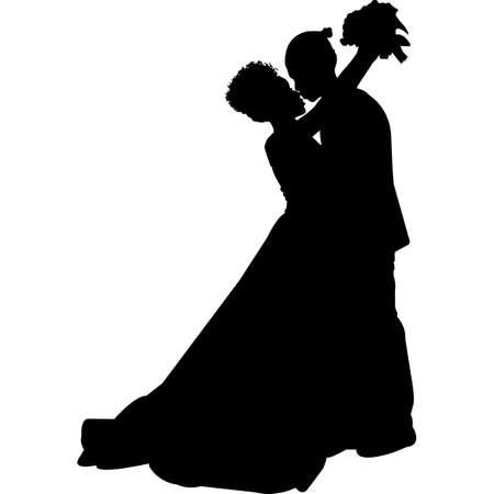African American Wedding Couple Hugging Silhouette Vector