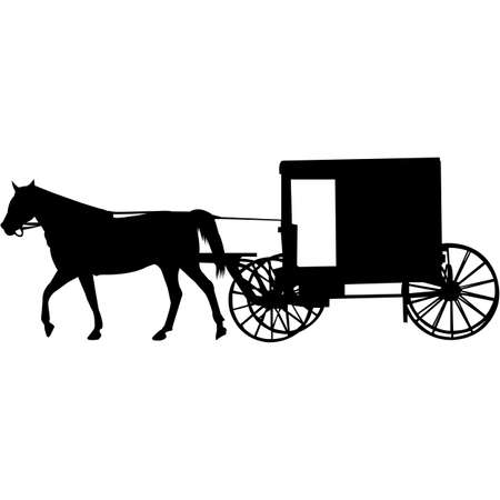 Amish Buggy Silhouette Vector Vektorové ilustrace