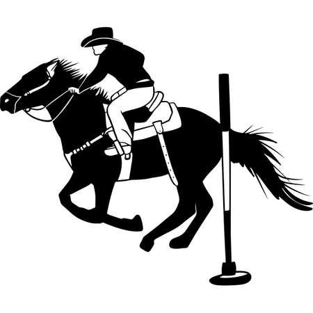 Hand drawn Rodeo Pole Bending  Vector Sketch Stock Illustratie