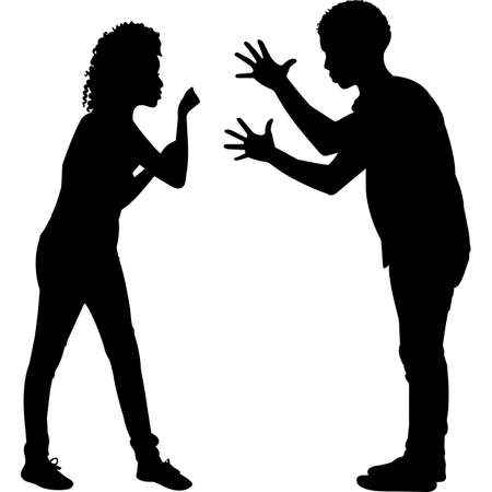 African American angry Couple Silhouette Vector