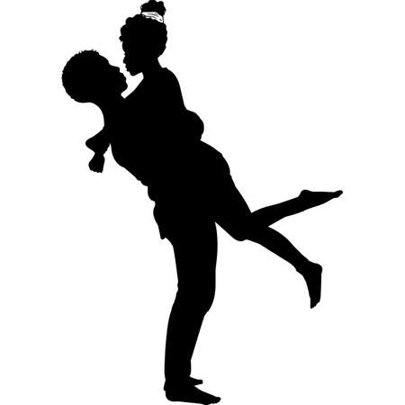 African American Couple Hugging Silhouette Vector