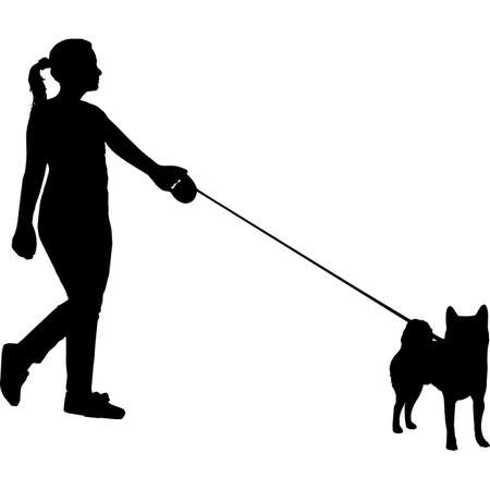 Woman Walking a Shiba Inu Dog Silhouette Vector