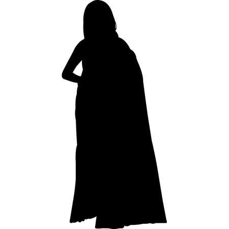 Bride, Woman in Sari Wedding Vector SIlhouette