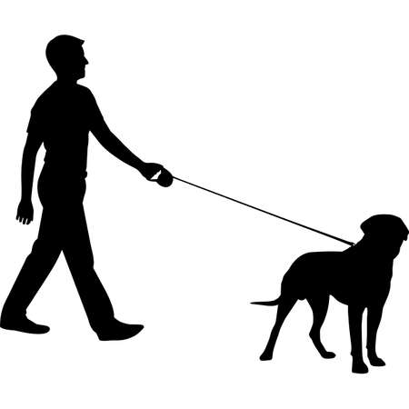 Man Walking a Mastiff Dog Silhouette Vector