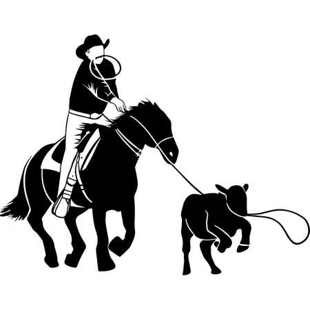 Hand drawn Rodeo Calf Roping 2 Vector Sketch Vetores