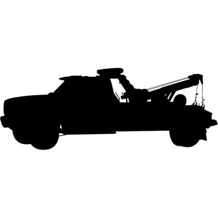 Tow Truck Silhouette Vector