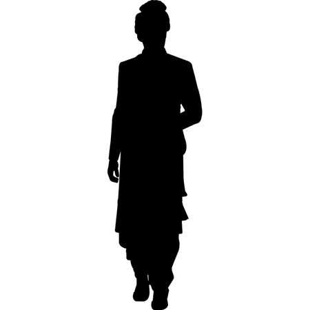 Groom, Man in Sherwani Wedding  Vector SIlhouette 矢量图像