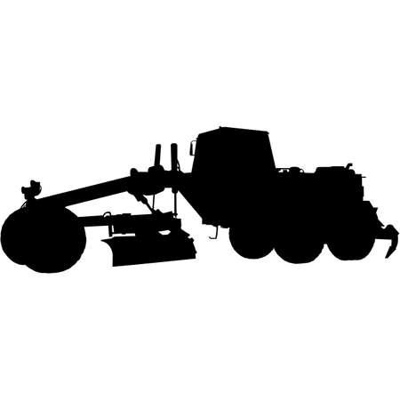 Road Grader Silhouette Vector