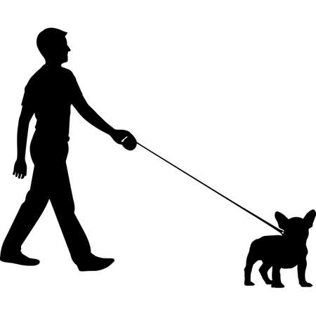 Man Walking a French Bull Dog Silhouette Vector
