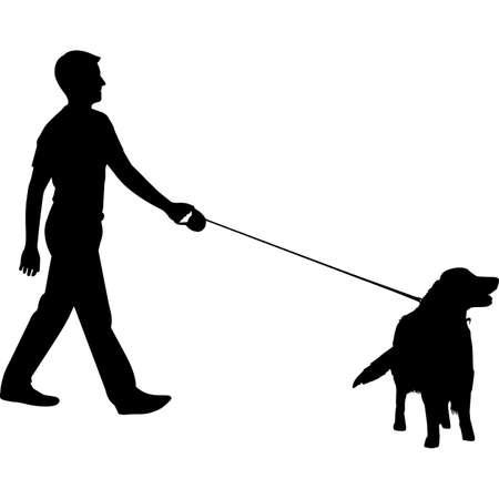 Man Walking a Golden Retriever Dog Silhouette Vector
