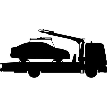 Tow Truck   Silhouette Vector Çizim