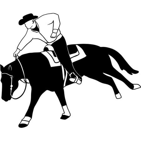 Hand drawn Horse sports Reining Vector Sketch