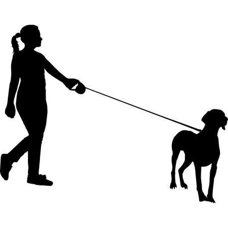 Woman Walking a Weimaraner Dog Silhouette Vector
