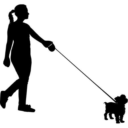 Woman Walking a Yorkshire Terrier  Dog Silhouette Vector