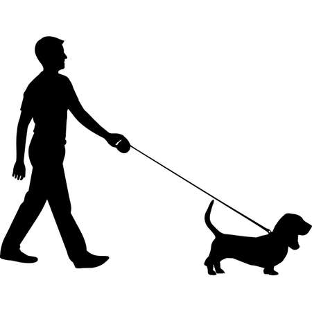 Man Walking a Basset Hound Dog Silhouette Vector