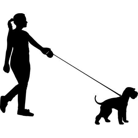 Woman Walking a Miniature Schnauzer  Dog Silhouette Vector